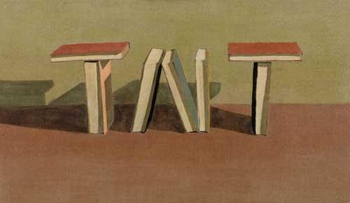 """חנן שלונסקי - טמטום נגד טמטום. טמפרה על בד, 122/68 ס""""מ"""