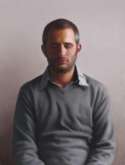 ארם גרשוני - דיוקן עצמי בעיניים עצומות. שמן על לוח עץ, 2009