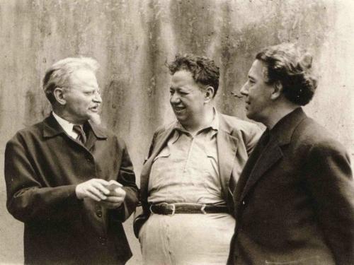 לאון טרוצקי, דייגו ריברה ואנדרי ברטון. צילום פריץ באך, מקסיקו, 1938