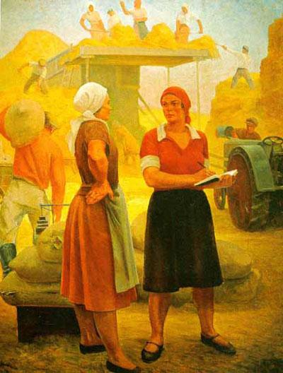 """גרגורי ריאזסקי, """"יושבת ראש הקולחוז"""", 1932"""