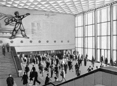 דוגמה לסגנון הבינוי הסוצריאליסטי בריגה: תחנת הרכבת המרכזית
