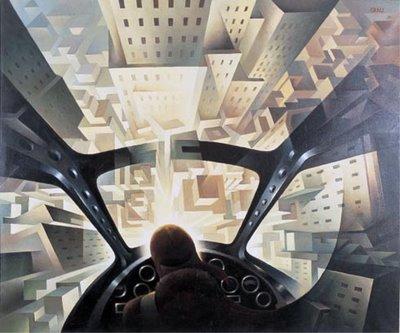 "Tullio Crali, ""Nose Dive on the City"", 1939"