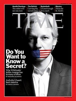 Julian Assange on the cover of Time Magazine